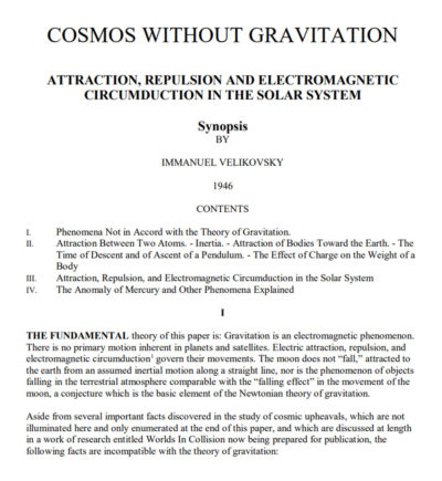 Immanuel Velikovsky Cosmos Without Gravitation
