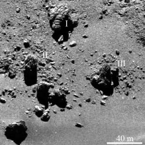 comet 67P/Churyumov-Gerasimenko boulders rocks geomorphology cliffs