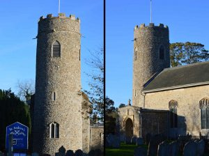 St Andrew's Church in Wissett Suffolk England with round tower