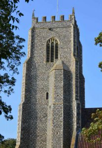 Old square tower flint and mortar churches in East Anglia