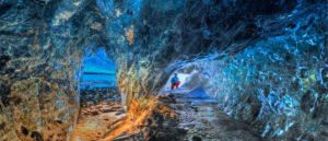 blue ice caves electromagnetic light