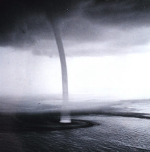 spiralling waterspouts surface