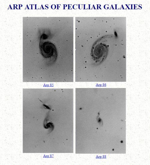 Halton Arp Atlas of Peculiar Galaxies red shift