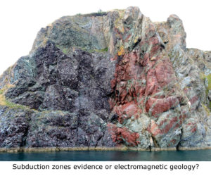 Subduction zones evidence or electromagnetic geology