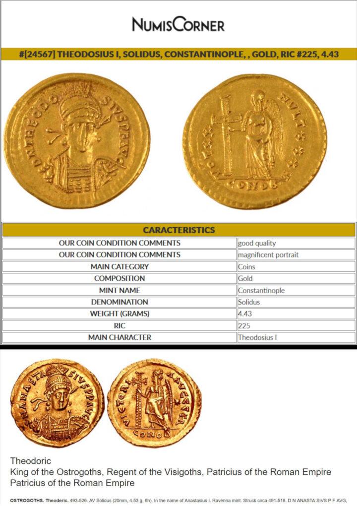 Theodosius I Theodoric roman gold coins