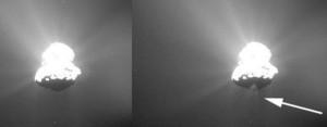 comet 67p jets  night side dark side mystery