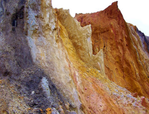 beaches coloured sand cliffs clays variety varied