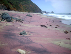 puple coloured beaches sandy where