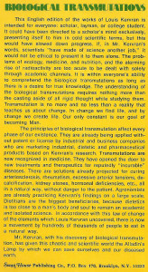 Biological Transmutations by Professor Corentin Louis Kervran English translation by Michel Abehsera back cover