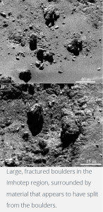 comet 67p boulders rocks weathering fields erosion