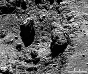 where what how comet 67p boulders rocks come from origin