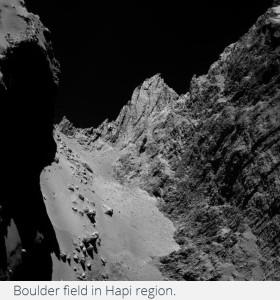 comet 67p Boulder field in Hapi region rocks rocky origin geology