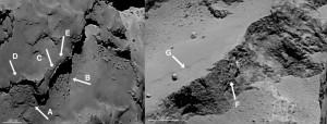 comet 67p geology boulders talus electric universe evidence