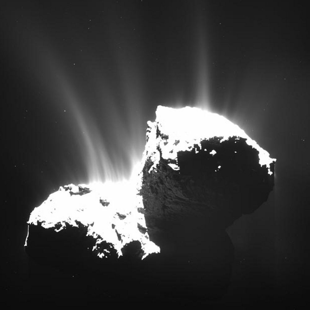 Comet 67p - sublimated ice jets water
