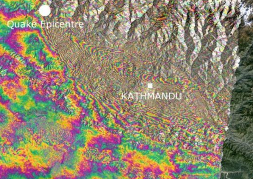 earthquake colour map nepal