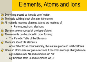 elements atoms ions how what why where