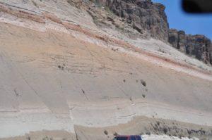 slip faults road cut at Kingman Arizona