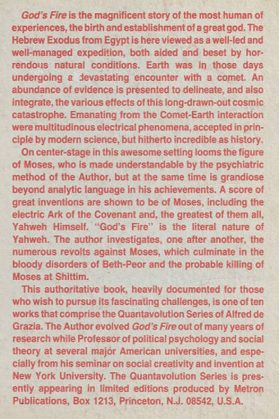 God's Fire: Moses and the management of Exodus book author Alfred de Grazia jews jewish history EU theory