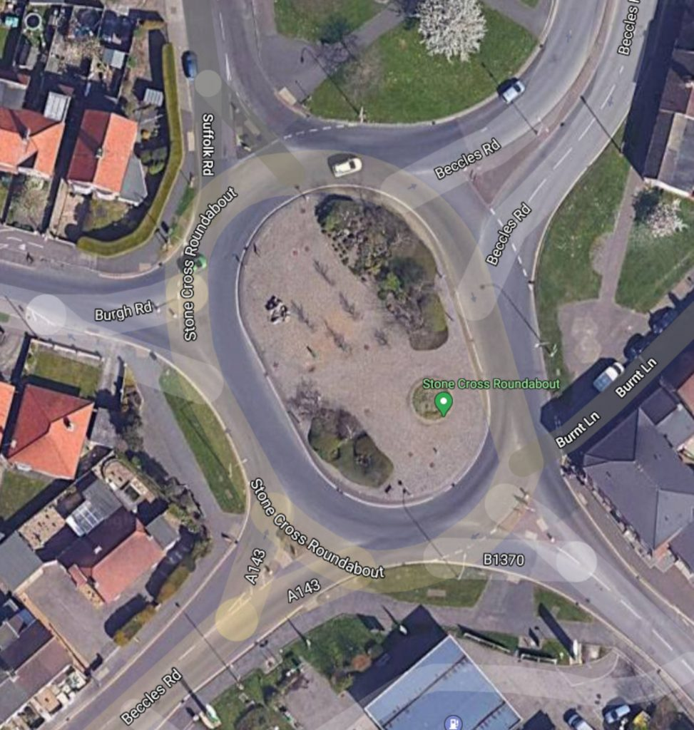 Gorleston-On-Sea Stone Cross roundabout history