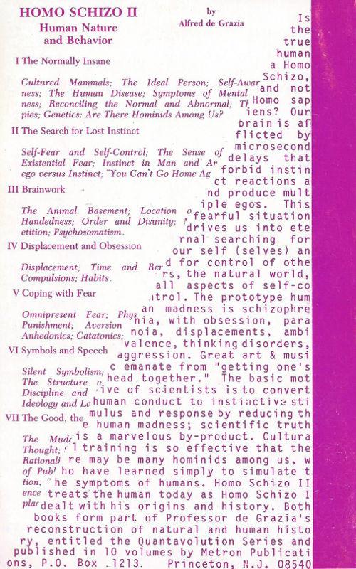 Homo Schizo 2 Alfred de Grazia Electric Universe theory Catastrophism