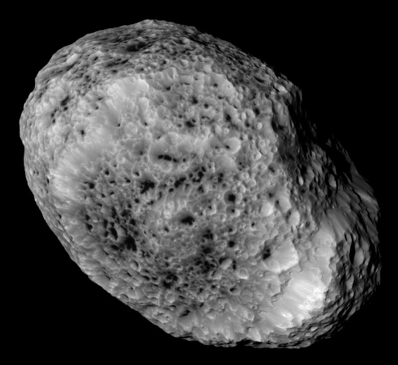 hyperion craters mystery surface geology features saturn moon