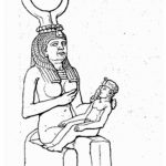isis nursing suckling hathor headdress