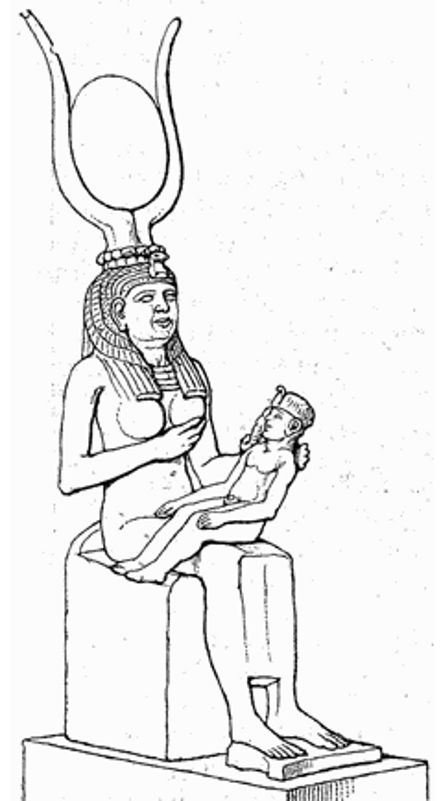 isis nursing suckling hathor headdress