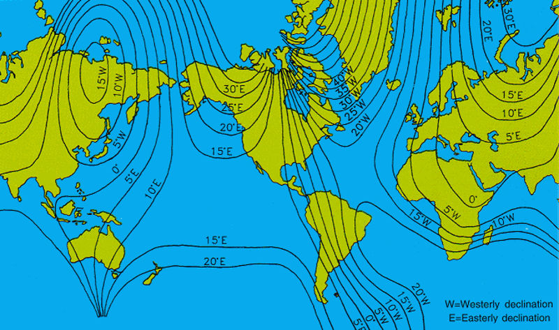 Magnetic declination map and calculations: why do they vary?