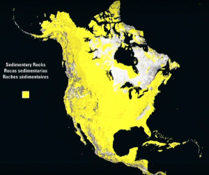 North America sedimentary rock depth layers map
