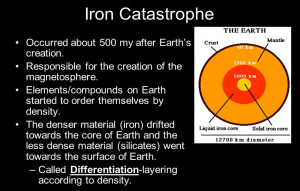 earths mass iron catastrophe theory