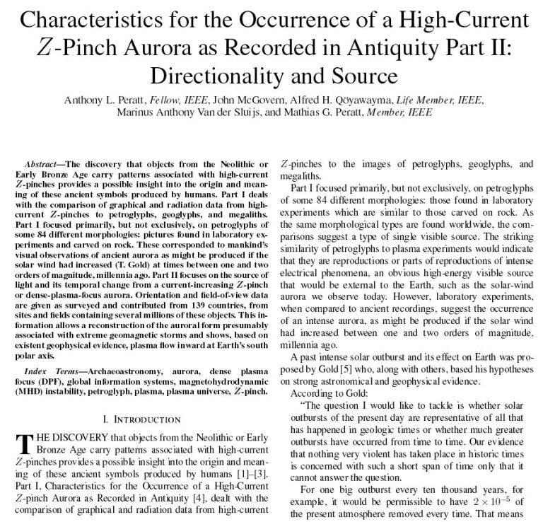 Characteristics for the Occurrence of a High-Current Z-Pinch Aurora as Recorded in Antiquity Part II: Directionality and Source Anthony Peratt petroglyphs mythology