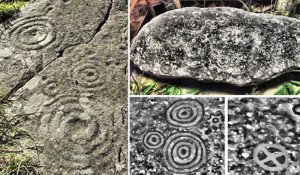 petroglyphs many ringed circles layers ancient carvings plasma discharge
