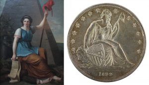 Liberty Britannia spear with Phrygian cap on end remembering Saturnalia