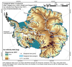 subglacial water lakes currents circuits flow