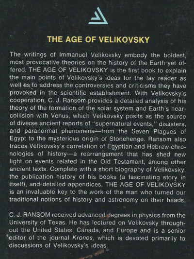 The Age of Velikovsky controversy C J Ransom book Immanuel chronology history revision