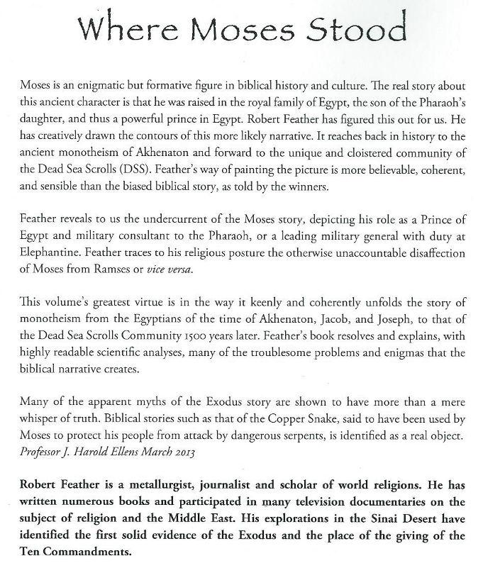 Where Moses Stood book review Robert Feather chronology revision