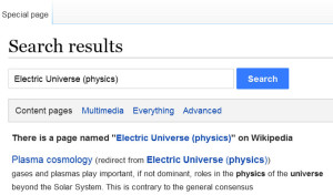 wikipedia electric universe theory EU plasma cosmology